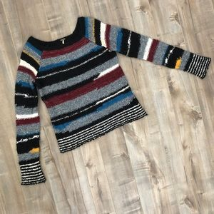 Free People abstract striped cozy pullover sweater